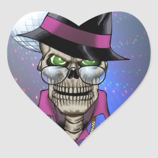 Skull Pimp with Hat, Glasses, Gold Chain and Disco Heart Sticker