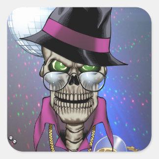 Skull Pimp with Hat, Glasses, Gold Chain and Disco Square Sticker