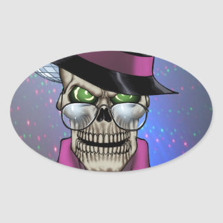 Skull Pimp with Hat, Glasses, Gold Chain and Disco Oval Sticker