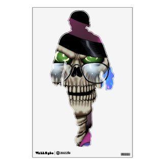 Skull Pimp with Hat, Glasses, Gold Chain and Disco Wall Decal