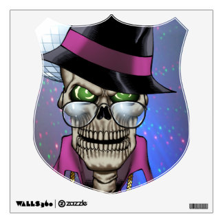 Skull Pimp with Hat, Glasses, Gold Chain and Disco Wall Sticker