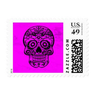 Skull pink 04 postage stamp