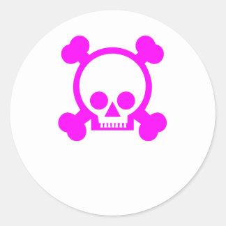 skull - pink classic round sticker