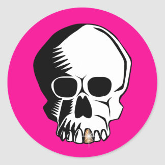 Skull Pink Gold Tooth Stickers