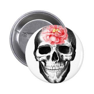 Skull Pink Rose Brain Flower Thoughts Skeleton Pinback Button