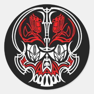 Skull Pinstriping Classic Round Sticker