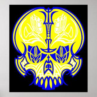 Skull Pinstriping Print