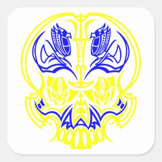 Skull Pinstriping Square Sticker