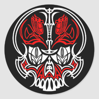 Skull Pinstriping Round Stickers