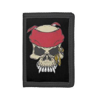 Skull Pirate Black Tri-fold Wallet