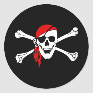 Skull Pirate Classic Round Sticker, Matte Classic Round Sticker