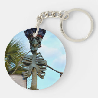 skull pirate skeleton statue over stone wall Double-Sided round acrylic keychain