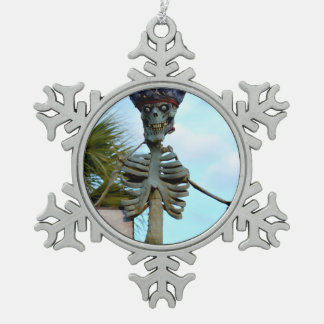 skull pirate skeleton statue over stone wall snowflake pewter christmas ornament