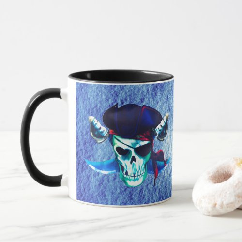 SKULL PIRATE WITH BLUE HAT  SWORD CUP