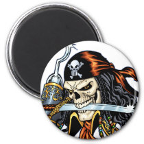 skull, skulls, pirate, pirates, sword, swords, hook, comic, art, al rio, characters, Ímã com design gráfico personalizado