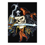 Skull Pirate with Sword and Hook by Al Rio 5x7 Paper Invitation Card