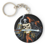 Skull Pirate with Sword and Hook by Al Rio Basic Round Button Keychain