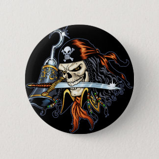 Skull Pirate with Sword and Hook by Al Rio Button