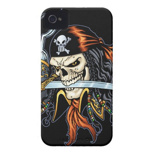 Skull Pirate with Sword and Hook by Al Rio iPhone 4 Covers