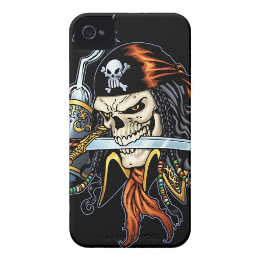 Skull Pirate with Sword and Hook by Al Rio Case-Mate iPhone 4 Case