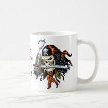 skull, skulls, pirate, pirates, sword, swords, hook, comic, art, al rio, characters, Mug with custom graphic design