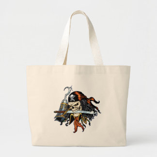 Skull Pirate with Sword and Hook by Al Rio Large Tote Bag