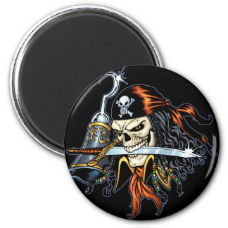 Skull Pirate with Sword and Hook by Al Rio Fridge Magnets