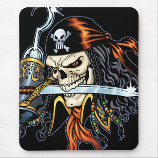 Skull Pirate with Sword and Hook by Al Rio Mouse Pad