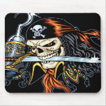 Skull Pirate with Sword and Hook by Al Rio Mouse Pads