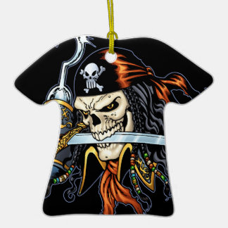 Skull Pirate with Sword and Hook by Al Rio Double-Sided T-Shirt Ceramic Christmas Ornament