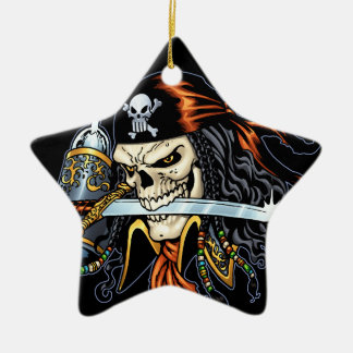Skull Pirate with Sword and Hook by Al Rio Ornaments