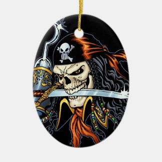 Skull Pirate with Sword and Hook by Al Rio Ornament