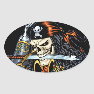Skull Pirate with Sword and Hook by Al Rio Oval Sticker