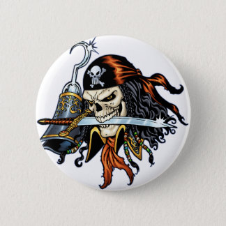 Skull Pirate with Sword and Hook by Al Rio Pinback Button