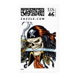 Skull Pirate with Sword and Hook by Al Rio Postage Stamps