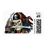 Skull Pirate with Sword and Hook by Al Rio Postage Stamp