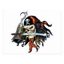skull, skulls, pirate, pirates, sword, swords, hook, comic, art, al rio, characters, Cartão postal com design gráfico personalizado