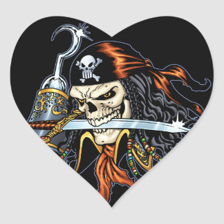 Skull Pirate with Sword and Hook by Al Rio Sticker
