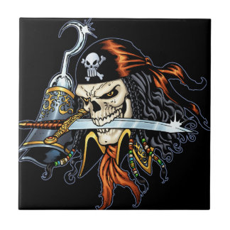 Skull Pirate with Sword and Hook by Al Rio Tile
