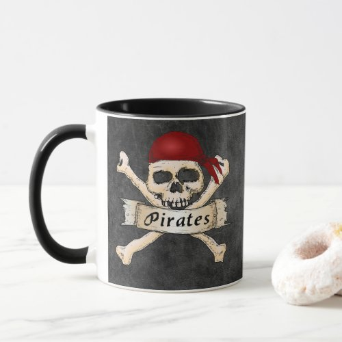 SKULL PIRATES WITH RED BANDANNA CUP