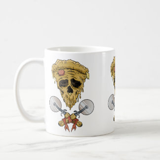 skull pizza slice. coffee mug