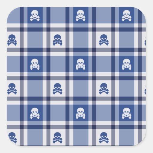 Skull Plaid Pattern Square Sticker