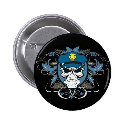 Skull Police Officer Buttons