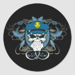 Skull Police Officer Classic Round Sticker