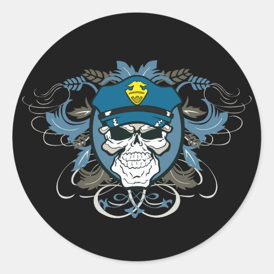 Skull Police Officer Classic Round Sticker