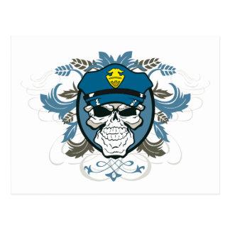 Skull Police Officer Postcard