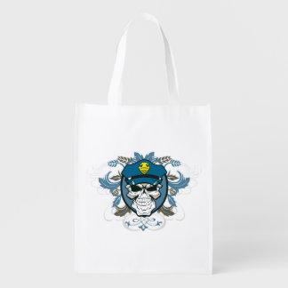 Skull Police Officer Reusable Grocery Bag