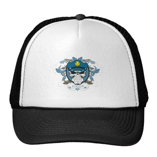 Skull Police Officer Trucker Hat