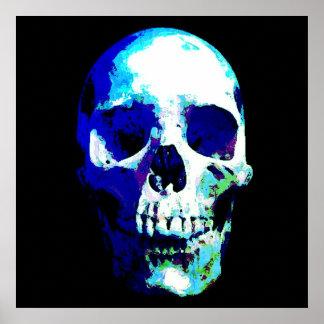 Skull Pop Art Blue Color Poster