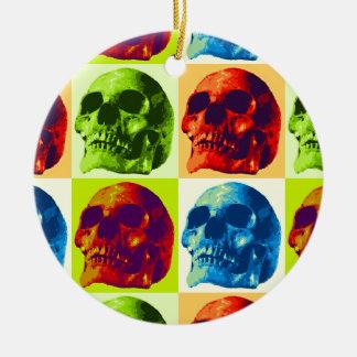 Skull Pop Art Ceramic Ornament